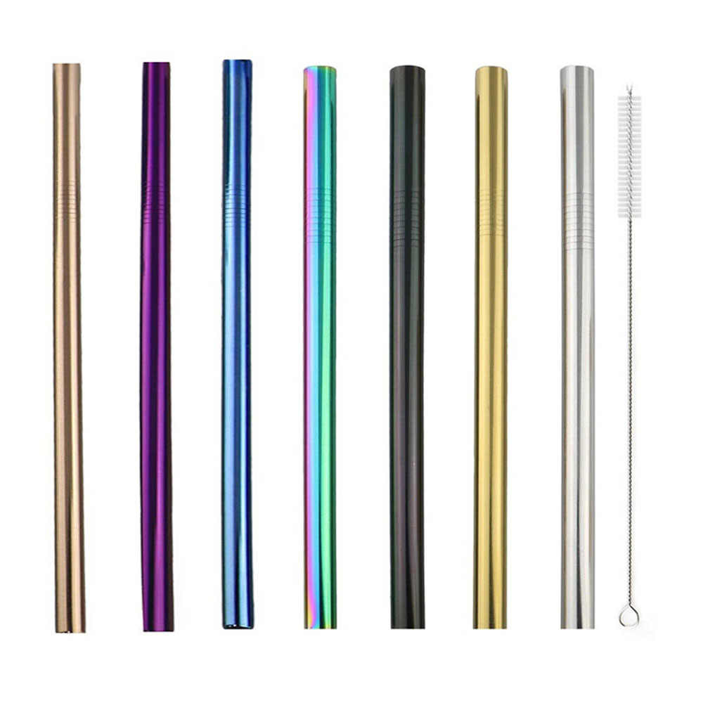 5Pcs Extra Wide Straw Reusable 304 Stainless Steel Straw Set with Box Colorful Drinking Straw Metal Straw Pearls MilkshakeJuice