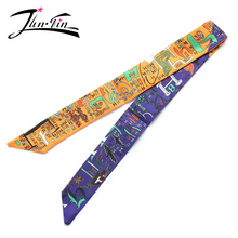 Twilly  2016 Fashion  Print  50% Silk Scarf Small Ribbon letter Women headband Handle Bag wholesale 96*5cm