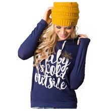 Women Sweatshirt Hoodies Christmas BABY IT'S COLD OUTSIDE Letter Printed Pullover Long Sleeve Female Sweatshirts Female Outwear