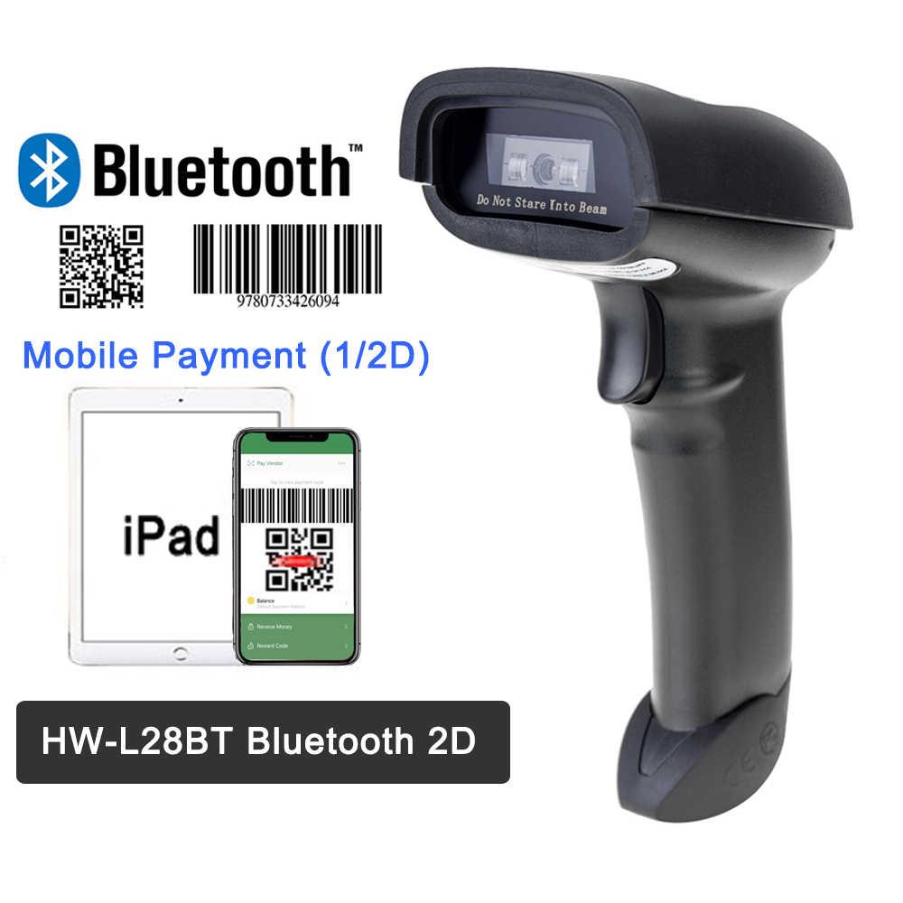 Di động Máy Quét Mã Vạch Không Dây Bluetooth 2D QR Mã Vạch Cho Android IOS Ipad Thanh Toán Di Động HW-L28BT