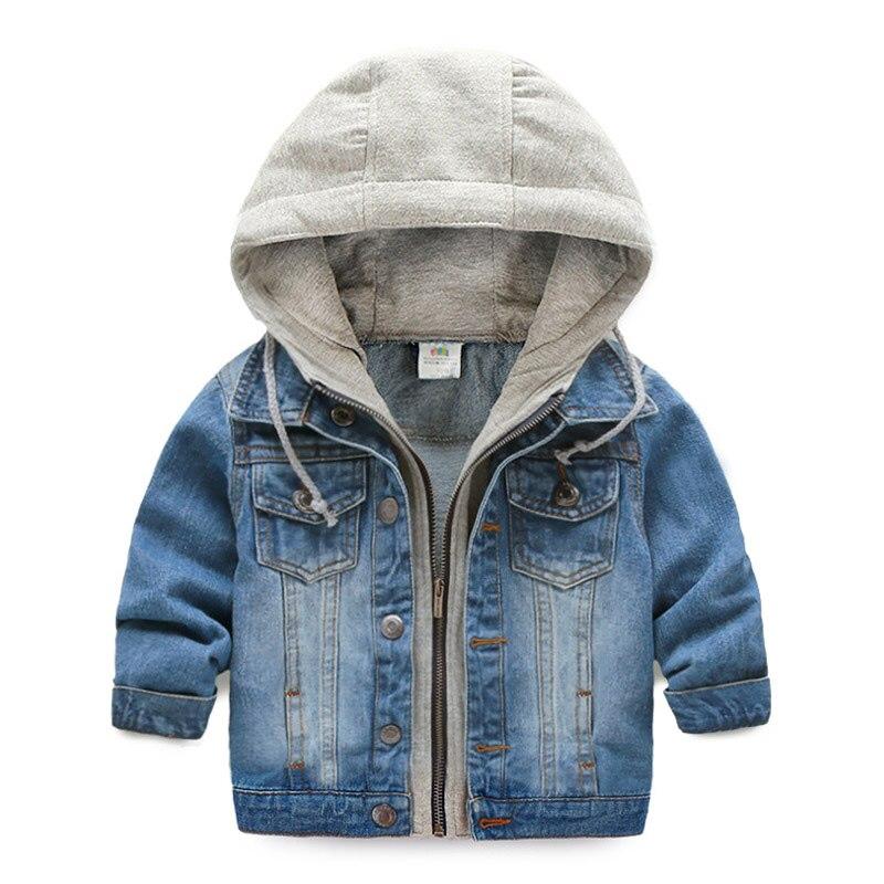 2018 для маленьких мальчиков Демисезонный куртка с капюшоном Детские Повседневное деним Топы корректирующие Верхняя одежда Пальто От 2 до 10 л...