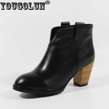 YOUGOLUN Autumn Women Ankle Boots Elegant Black Ladies Thick Heels 7cm Genuine Leather Boot Fashion Woman