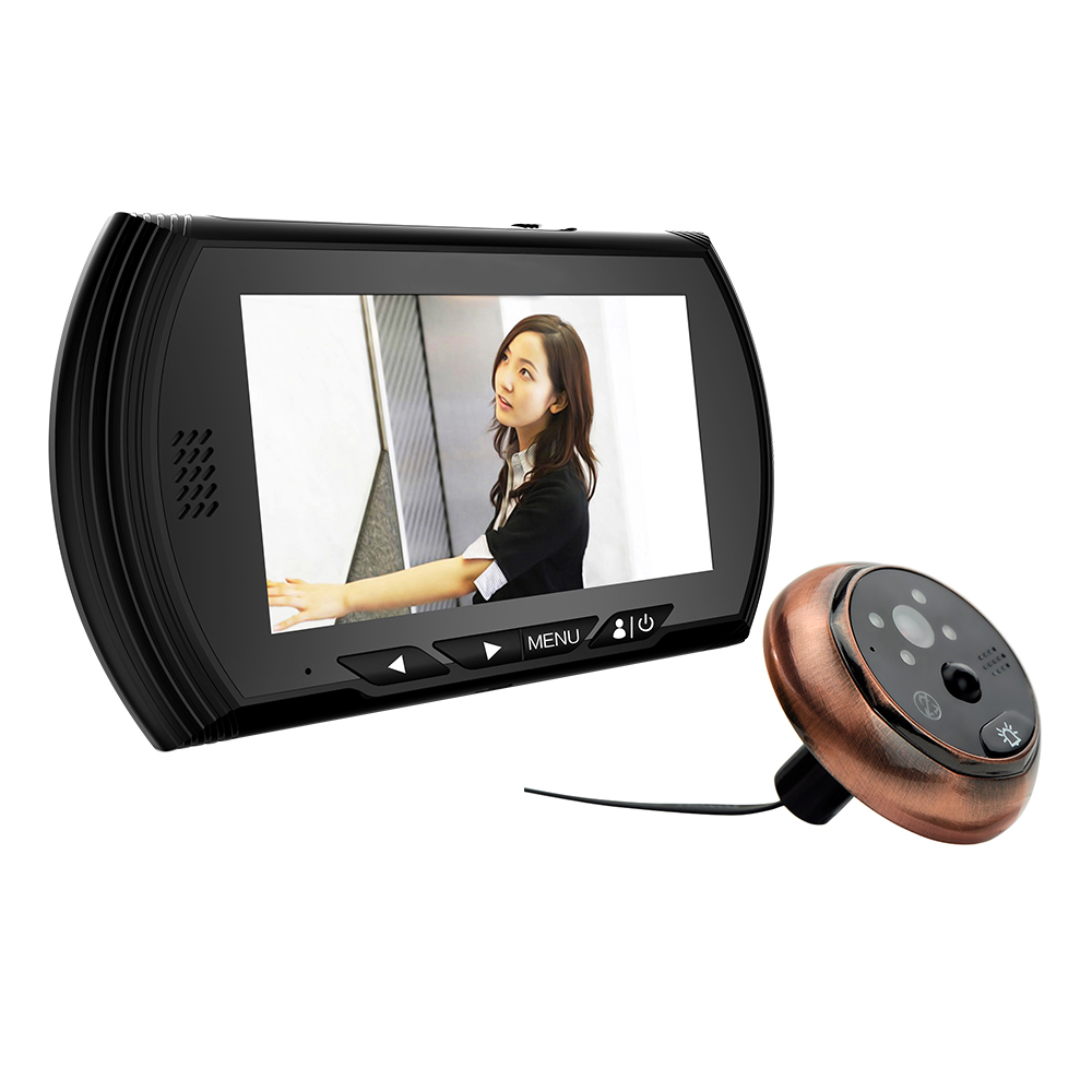 4.3 TFT Black Color Digital Peephole Viewer Camera with IR Night Vision Support No Disturb & Motion Detect & PIR & Door Bell