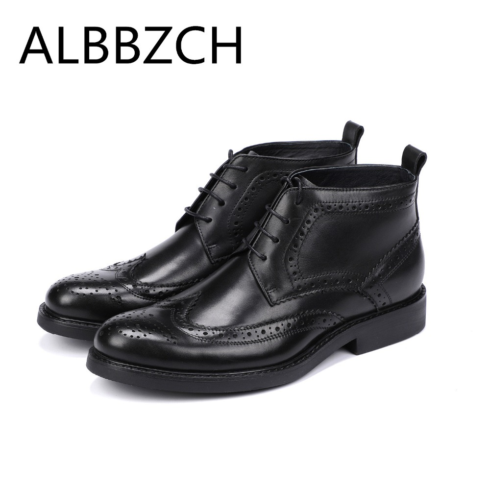 Brand Carved Brogue Oxford Men Shoes Male Designer Genuine Leather Mens Wing Tip Chelsea Ankle Boots Business Dress work BootsBrand Carved Brogue Oxford Men Shoes Male Designer Genuine Leather Mens Wing Tip Chelsea Ankle Boots Business Dress work Boots