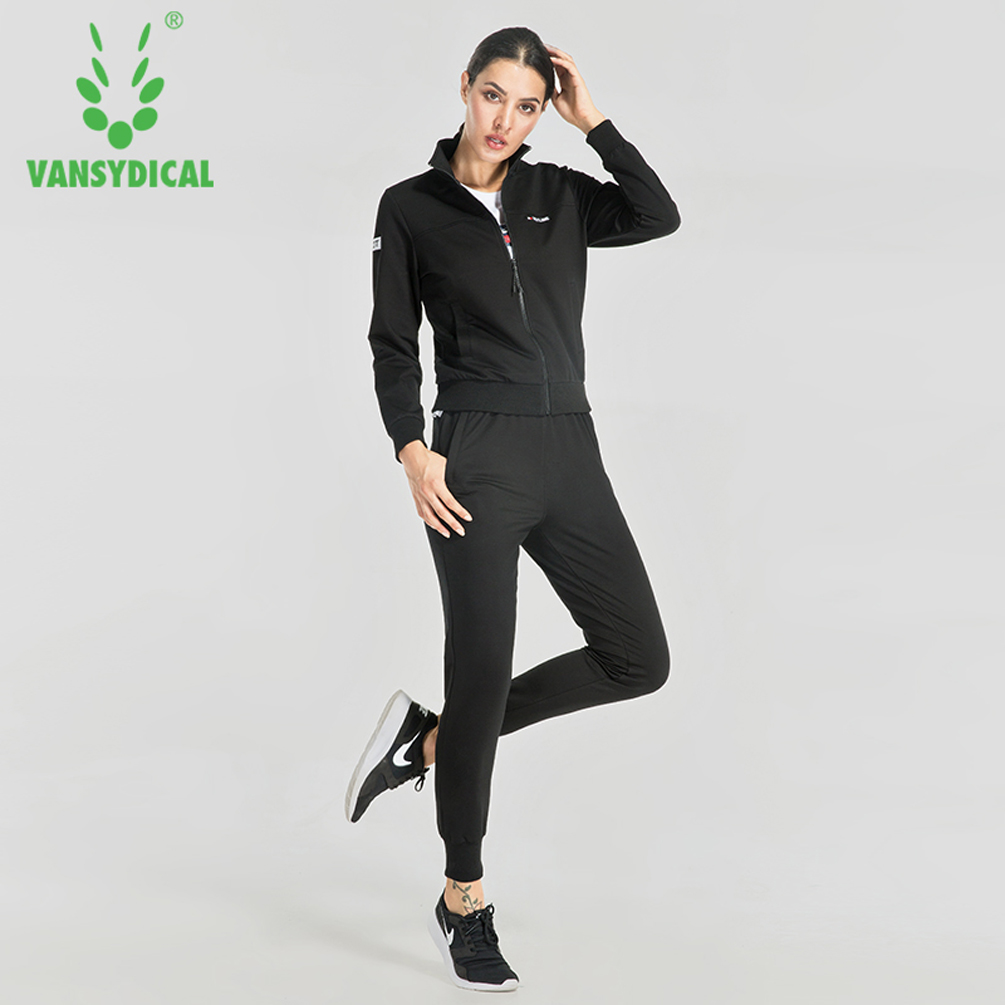 Vansydical Sport Cotton Running Sets 3Pcs Womens Jacket Sports Tops Pants Tracksuit Sweatshirt Sweat Suit Jogging Set