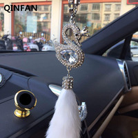 QINFAN High Car Grade Fox Hair Rearview Mirror Ornaments Car Pendant Diamond Pendant Jewelry Swan Fox