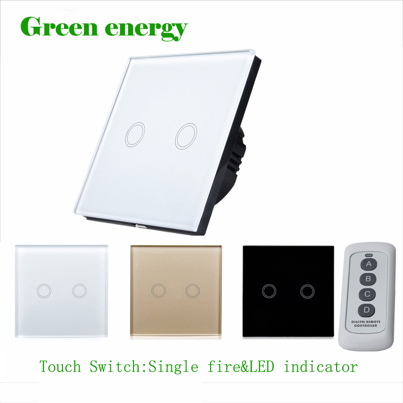 MiniTiger Crystal Glass Panel Touch Switch, EU Standard,  2 Gang 1 Way Remote Control Light Switch,Wall Switch, Touch Switch smart home eu touch switch wireless remote control wall touch switch 3 gang 1 way white crystal glass panel waterproof power