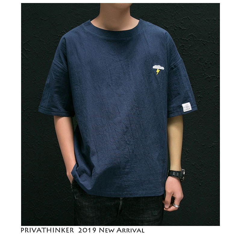 Privathinker Men Cotton Linen Embroidery Tshirts 2019 Summer Mens Streetwear   T     Shirt   Male Korean Fashions   T  -  shirt   Harajuku Tees