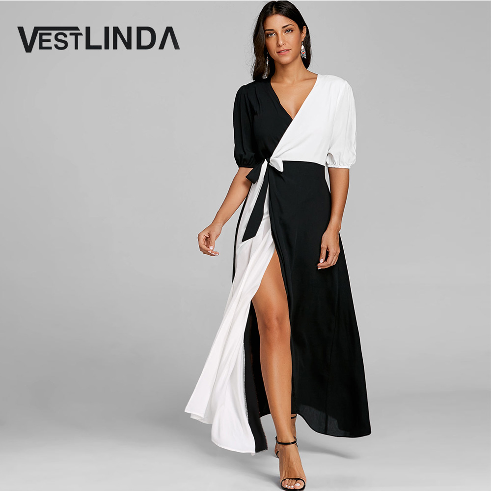 VESTLINDA Puff Sleeve Color Block High Slit Maxi Dress Women Casual V Neck  Long Sleeves Patchwork Dresses Vestido De Festa Robe-in Dresses from Women s  ... 421156088ab3