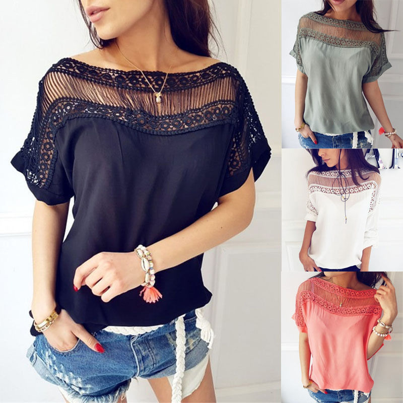 Women Summer T-shirt Short Sleeves Patchwork Hollow Out Pullover Loose Tops FS99