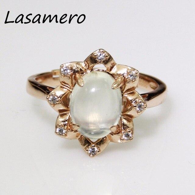 LASAMERO 9*7 мм белый Пренит кольцо Твердые Стерлингового Серебра 925 Сказочные Женщины Изящных Ювелирных Изделий