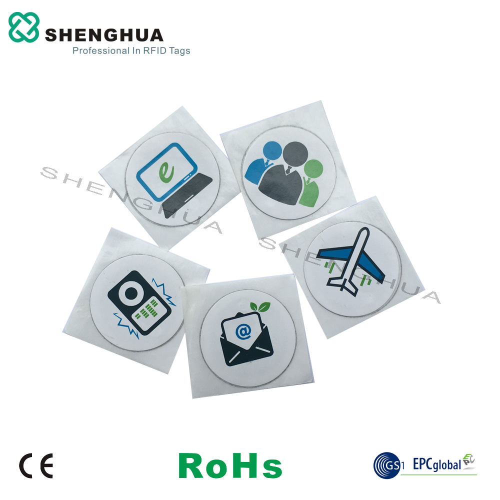 6pcs/lot HF ISO 14443A N TAG213 RFID NFC Sticker Logo Printed Testing 144 Bytes Contactless PET Waterproof  Wifi Tags RFID