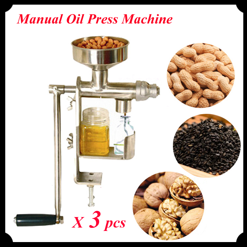 3pcs/lot Manual Oil Press Peanut Nuts Seeds Oil Press/ Expeller Oil Extractor Machine HY-03