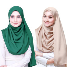 цена на 32 colors 70*175cm Muslim women silky satin hijab Scarf Ladies Shawls and Wraps Female Foulard Hijab Stoles islamic headscarf