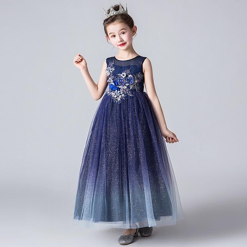 Summer   Girl   Lace Gown   Flower     Girl     Dress   For Weddings Western Style Lovely   Flower   O-neck Sleeveless Big   Girls   Long Blue Ball Gown