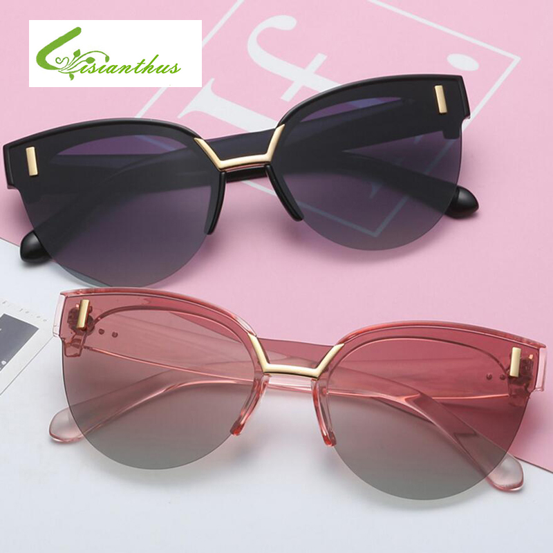 Fashion Semi Rimless Sunglasses 2019 Women Brand Designer