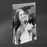 XINTOU 3D Laser Engraved Crystal Photo Frame Customized White Glass Pictures Frames for Wedding Valentine's Day Souvenirs Gift