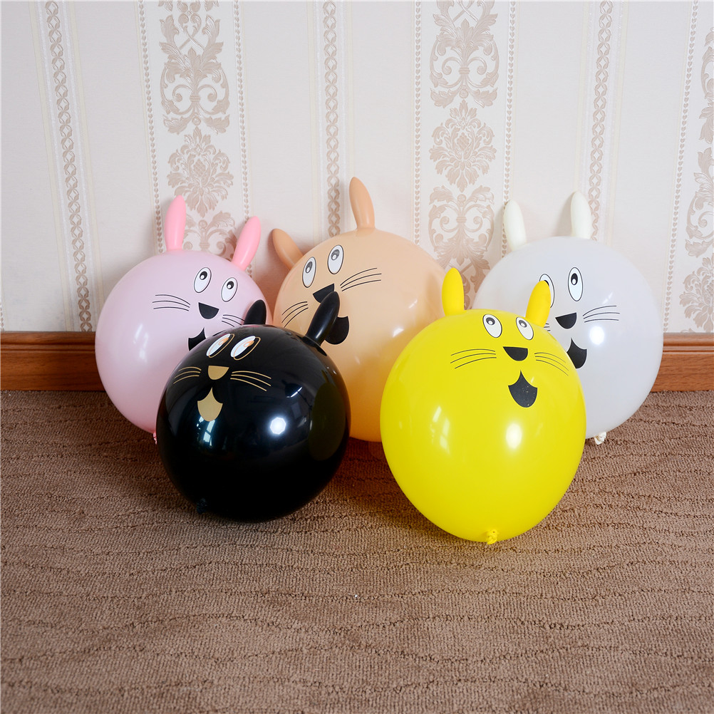 Dashing 10pcs/set Special Shaped Cartoon Toys Random Rabbit Head Latex Inflatable Balloon Mixed Color Childrens Party Famous For High Quality Raw Materials Full Range Of Specifications And Sizes And Great Variety Of Designs And Colors