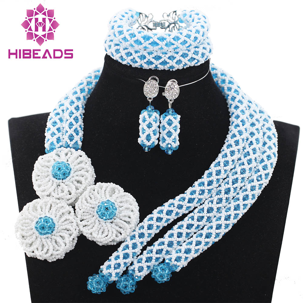 Здесь продается  Women Wedding Events Crystal Unique Blue and White African Laces Jewelry Sets Costume Jewelry Set Free ShippingABH213  Ювелирные изделия и часы