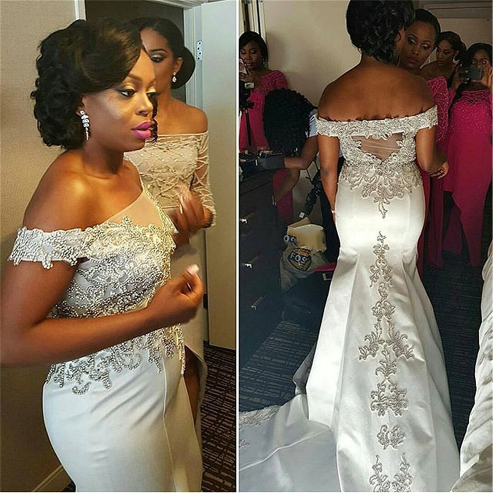 Nigerian Wedding Gowns: Bride Dresses 2017 Satin White African Wedding Gowns