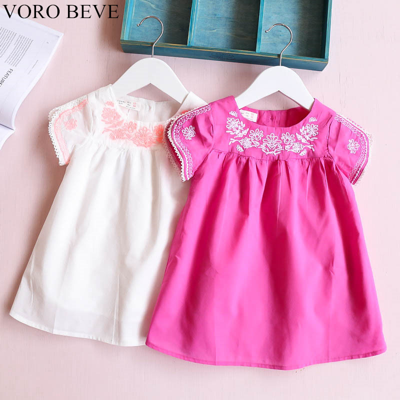 VORO BEVE Sweet Princess Dress Summer Fashion Children Clothes Baby Girl Dress Cuffs And Neckline Embroidery
