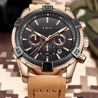 Erkek Kol Saati LIGE Mens Watches Top Brand Luxury Men's Sports Watch For Men Fashion Leather Waterproof Watch Male Quartz Clock