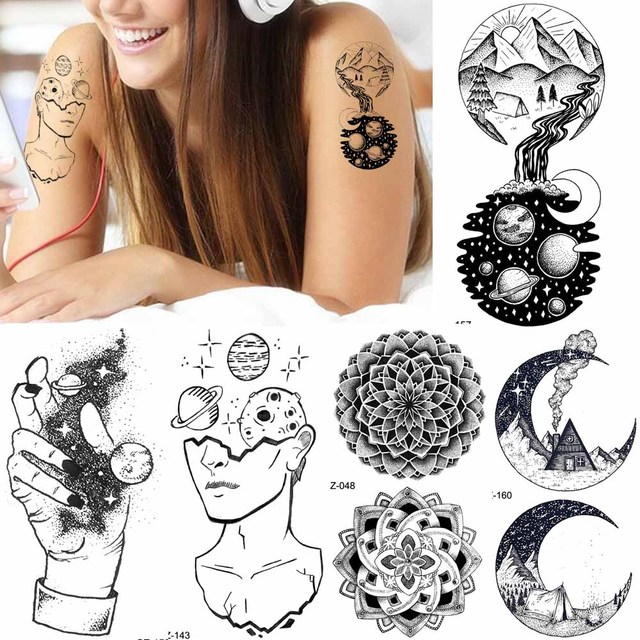Negro Mujeres Planeta Brazo Creativo Tatuaje Pegatinas Cuello Luna