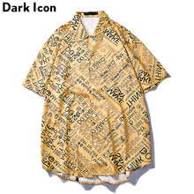 Dark Icon Letters Full Printed Vintage Hip Hop Shirt Men Front Short Back Long Street Fashion Men's Shirt Male Tops(China)