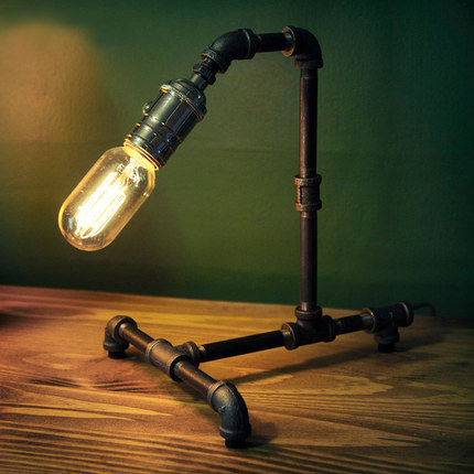 Water pipes loft lamp Edison industrial retro personality lamp Cafe creative decorative lamp SG15 loft robot model deco mesa table lamp edison industrial water pipes retro table lamp creative cafe bar art ambience desk lamp