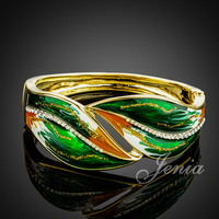 18K Real Gold Plated SWA ELEMENTS Austrian Crystal Green Oil Painting Pattern Bangle Bracelet FREE SHIPPING