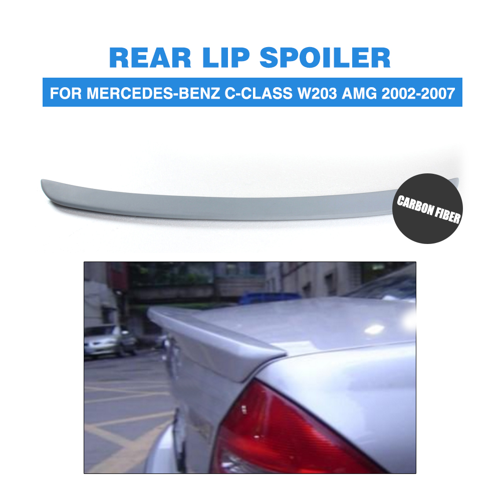 Rear Trunk Boot Spoiler Lip Wing For Mercedes-Benz C-Class W203 AMG 2002-2007 PU Unpainted Grey Primer Car Tuning Parts