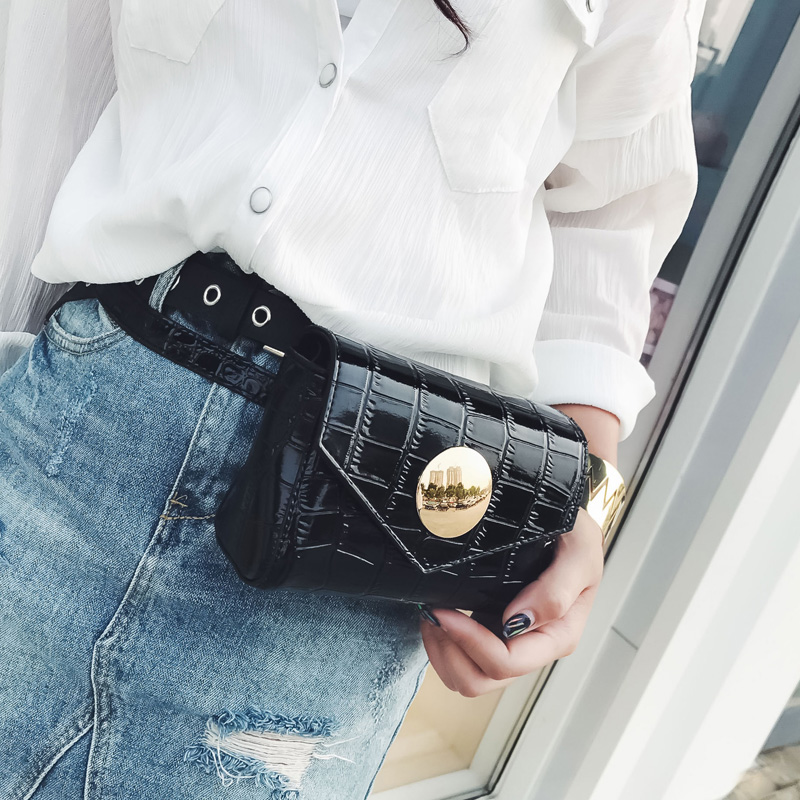 2018 Stone Pattern Waist Bags Women Travel Fanny Pack Fashion Money Belt Bag Female Mini Waist Pack Shoulder Messenger Chain Bag