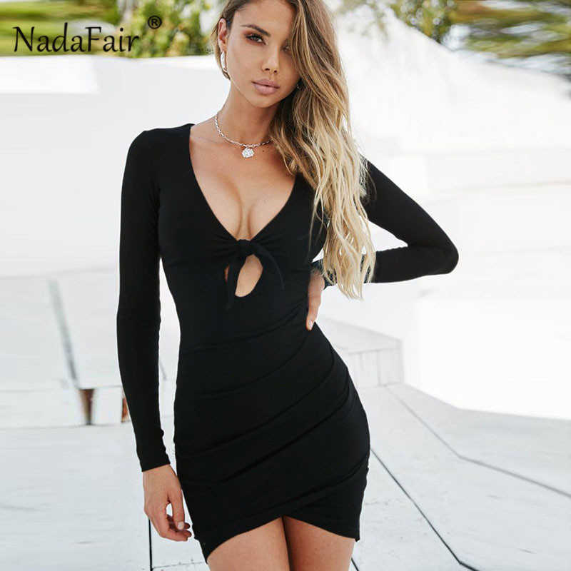807c63bd22 ... Nadafair V Neck Tie Up Knot Ruched Sexy Club Bodycon Party Dress Autumn  Long Sleeve Elastic ...