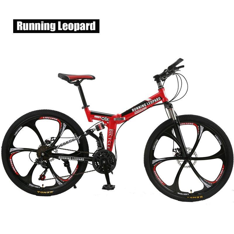 Correr leopardo plegable bicicleta de montaña 26 pulgadas acero bicicletas de 21 velocidades doble disco frenos bicicleta de carreras bicicleta BMX Bik - 3