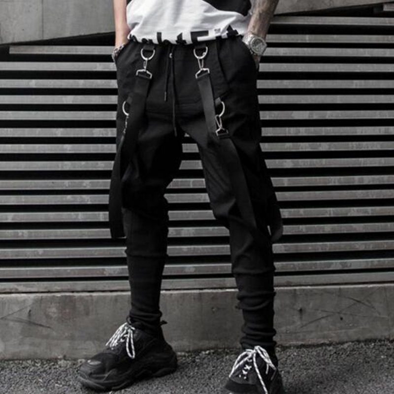 Men multi pockets ribbons patchwork hip hop harem pants punk cargo pants man vintage casual joggers nightclub stage trousers