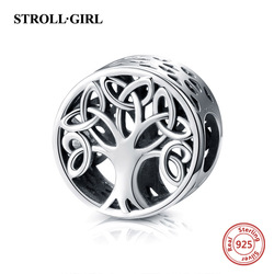 Strollgirl 925 Silver Tree of Life Charm beads fit Pandora Bracelets charms for Women & Girl fashion diy Jewelry Making Gifts