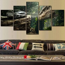 Modern Home Decor Picture Jurassic World Movie 5 Pieces Paintings Canvas Wall Art Living Room