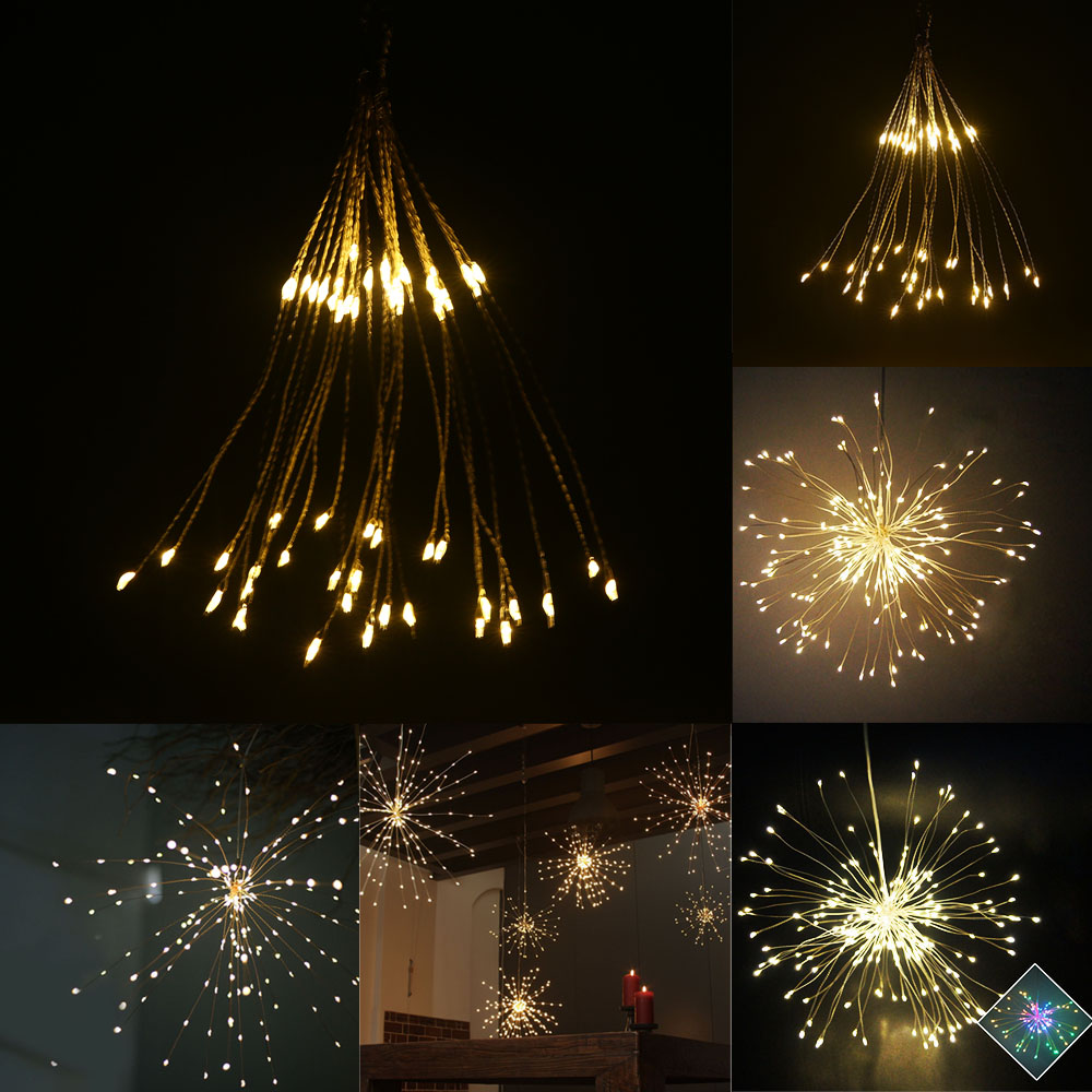 Light Decoration Diwali Led Explosion Star String Lights Hand Made Chandeliers Firework Light Decoration Fairy Light Remote Control String Lights Blue String Lights Wedding