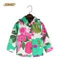 2017 Primavera Outono Roupas Crianças das Crianças Outerwear Bebê Meninas Marca de Moda Floral Impressão Casaco Com Capuz Meninas Jaqueta
