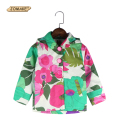 2017 Spring Autumn Children's Clothing Kids Outerwear Fashion Brand Baby Girls Floral Printing Trench Coat Hooded Girls Jacket