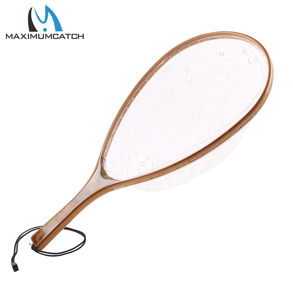 Maximumcatch Fly Fishing Landing Net Soft Rubber Catch Release Net Burl Wood Straight Handle For Trout
