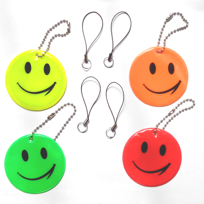 Smile face reflective pendant for visible safety use dangled on bag mobile phone clothing free shipping