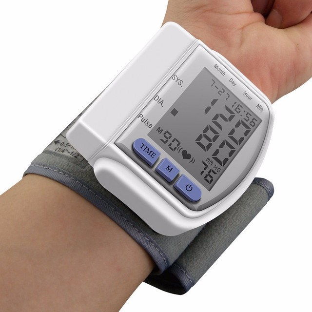 Heart Beat Meter LCD Digital DisplayScreen Home Automatic Wrist Blood Pressure Pulse Sphygmomanometer and Tonometer Monitor