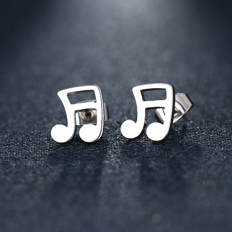 Cacana Stainless Steel Stud Earring Musical Notes Gold And Silver IMG_5503