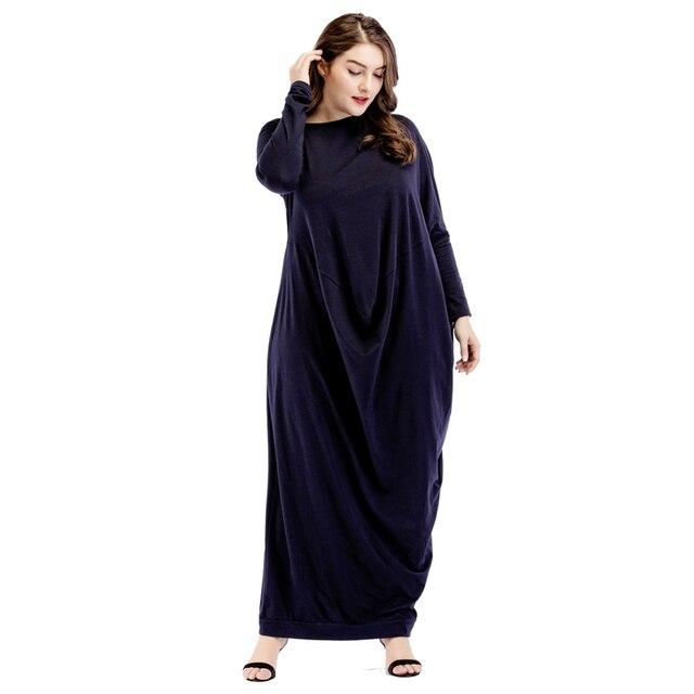 Plus size Women Abaya Muslim dress Long Sleeve Kaftan Islamic ...