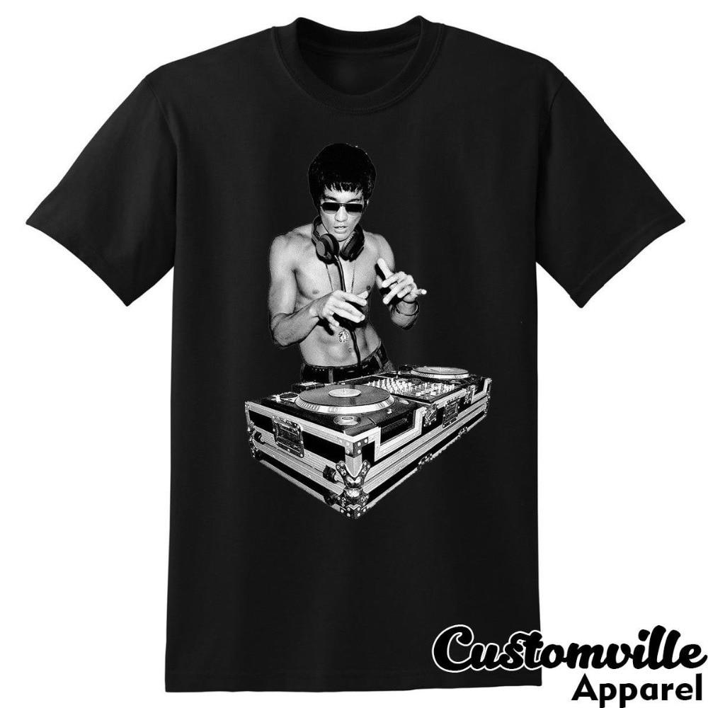Bruce Lee Dj Unisex T-Shirt. Funny Tony Stark Movie Fans Kung Fu Summer Fashion Letter Printed Cotton T Shirt Custom Tees