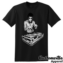 Bruce Lee Dj Unisex T-Shirt. Funny Tony Stark Movie Fans Kung Fu Summer Fashion Letter Printed Cotton T Shirt Custom Tees shirts