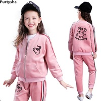 Spring Autumn Kids Girls Boutique Outfits Pink Long Sleeve Velvet Cartoon Piggy Two Piece Children Tracksuit