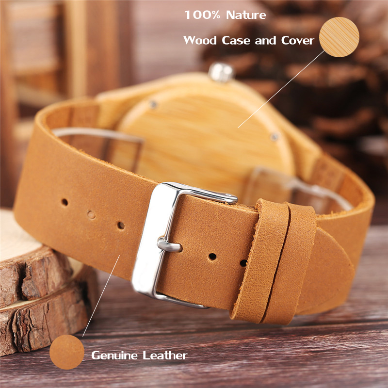 Image 4 - Luxury Wood Watch for Men Women Skull Pattern Creative Nature Wooden Wristwatch Modern Novel Leather Bangle Unisex Bamboo Clockwatch forwatches for menwatch pattern -