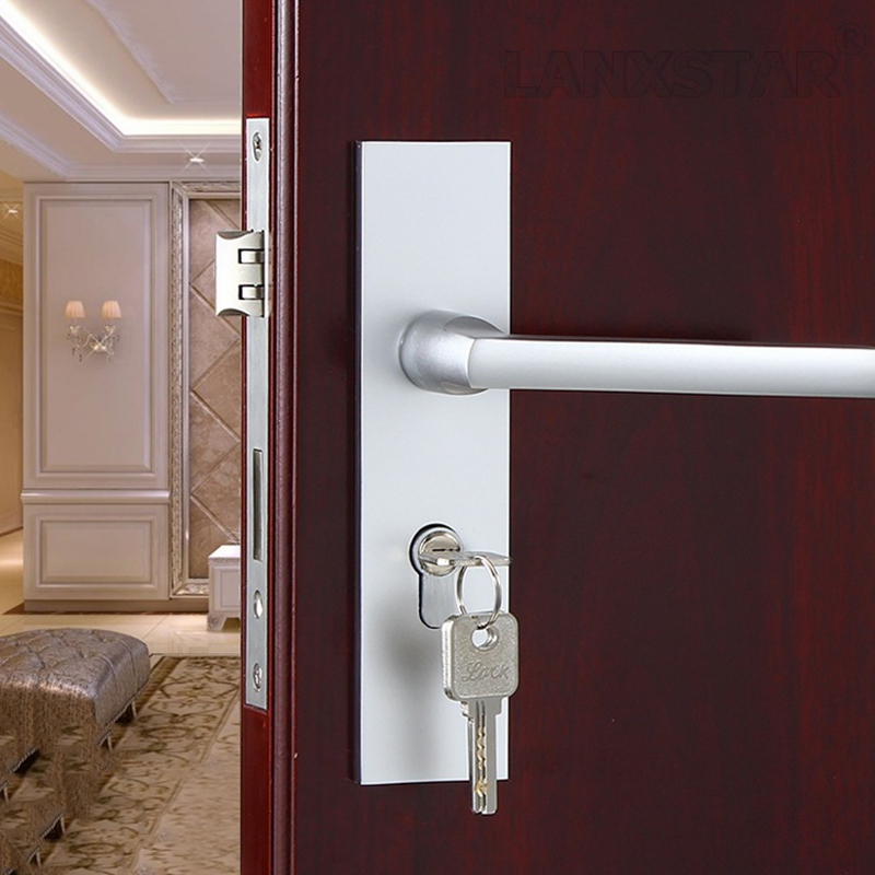 lock hard wood bedroom simple room door lock mute lockcore handle